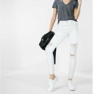 Express White High Waisted Distressed Jeans